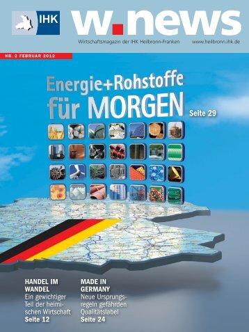 Energie + Rohstoffe für morgen | w.news 02.2012