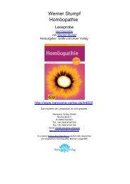 Werner Stumpf Homöopathie - Homöopathie Bücher, Narayana ...