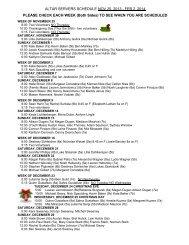 Altar Server Schedule - Saint Luke Church