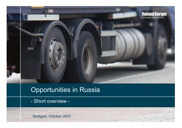 Opportunities in Russia - Roland Berger