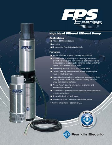 FPS E-Series Brochure - Franklin Electric