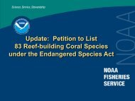 Update: Petition to List 83 Reef-building Coral Species under the ...