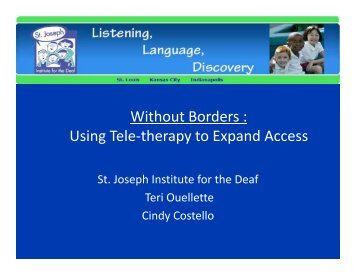 Using Tele-therapy to Expand Access - National Center for Hearing ...