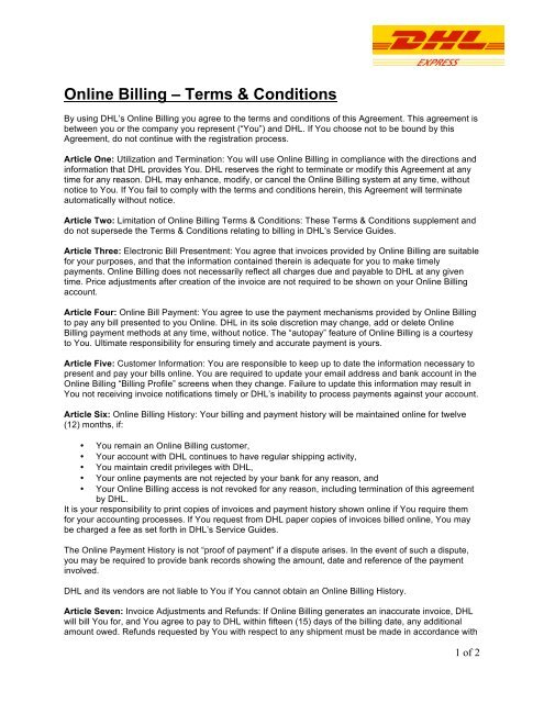 Online Billing A Terms Conditions Dhl