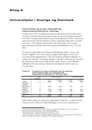 Bilag A Universiteter i Sverige og Danmark