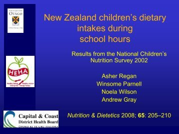 Dietary habits of NZ children during school hours - Weight ...