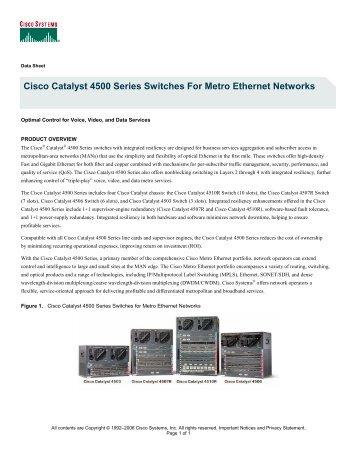 Cisco Catalyst 4500 Series Switches Datasheet