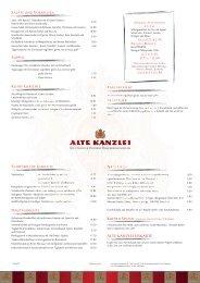 Aktuelle Speisen- und Getränkekarte - Alte Kanzlei