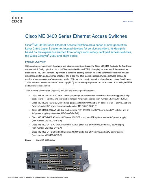 Cisco ME 3400 Series Data Sheet - LightRiver Technologies