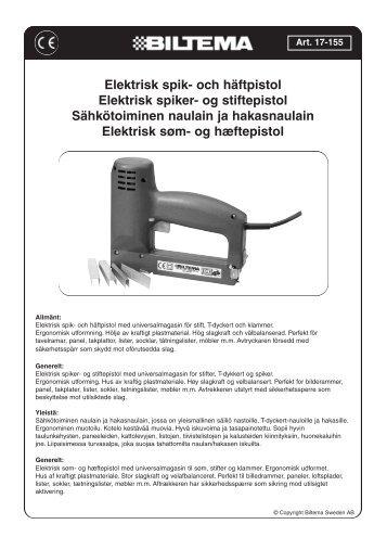 Elektrisk spik- och häftpistol Elektrisk spiker- og stiftepistol ... - Biltema