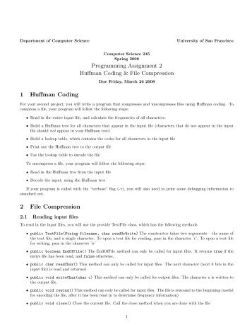 Programming Assignment 2 Huffman Coding & File Compression 1 ...