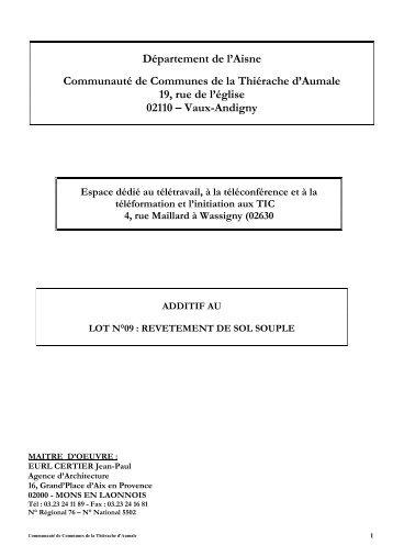 ADDITIF CCTP LOT 09 REVETEMENT DE SOL SOUPLE.pdf - La ...