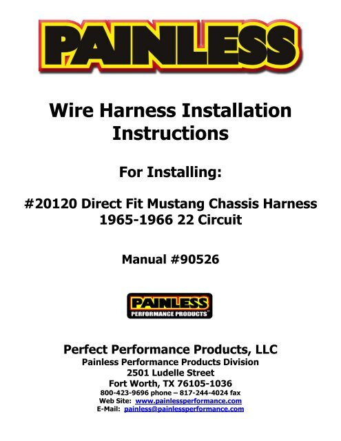 Painless Performance Wiring Harness Install Manual Guide