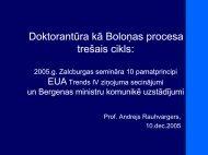 Doktorantūra kā Boloņas procesa trešais cikls: - Akadēmiskās ...