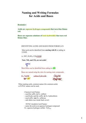 naming acids and bases worksheet - Termolak