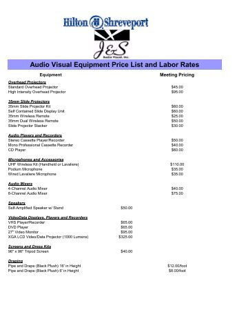 Audio Visual Equipment Price List and Labor Rates - eMarketing360