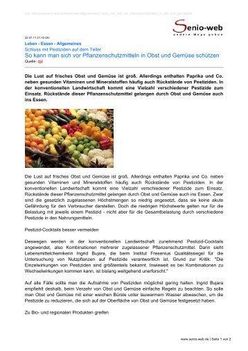 So kann man sich vor Pflanzenschutzmitteln in Obst ... - Senio-Web