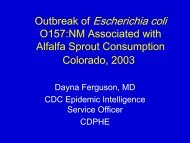 Outbreak of Escherichia coli O157:NM Associated with Alfalfa