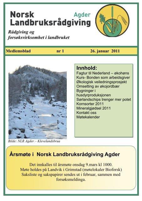 Medlemsblad nr 1 - Norsk Landbruksrådgiving Agder