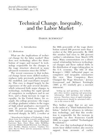 Technical Change, Inequality, and the Labor Market - DARP