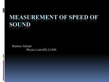 Measurement of Speed of Sound - Experimental Physics