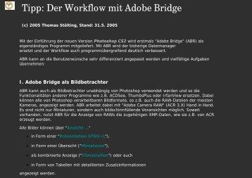 Der Workflow mit Adobe Bridge
