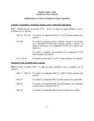 Modificación Anexo 4.1- Reglas de Origen ... - Amcham Chile