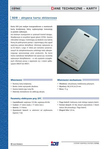DANE TECHNICZNE – KARTY - ID Electronics Sp. z oo