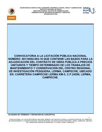 CONVOCATORIA A LA LICITACION PUBLICA ... - Inapesca