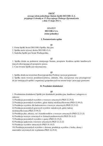Nowy tekst jednolity Statutu Decora SA 11-05-2012
