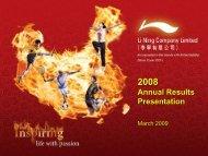 2008 Annual Results Corporate Presentation - Li Ning