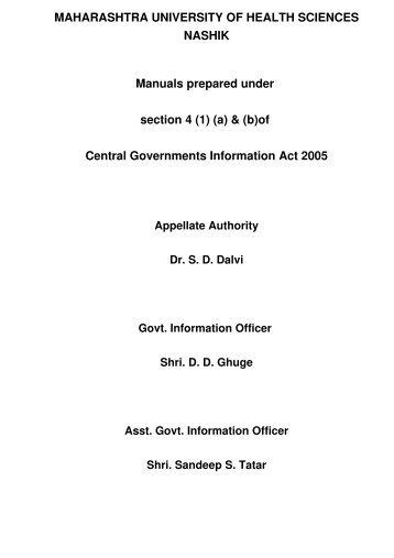 Information Act - Maharashtra University of Health Sciences