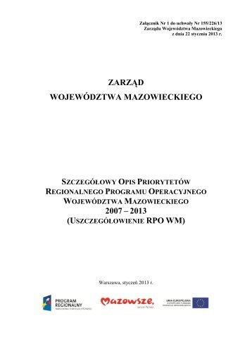 Uszczegółowienie RPO WM 2007-2013 - Mazowiecka Jednostka ...