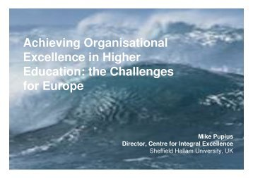 Achieving Organisational Excellence in Higher Education: the ... - EOQ