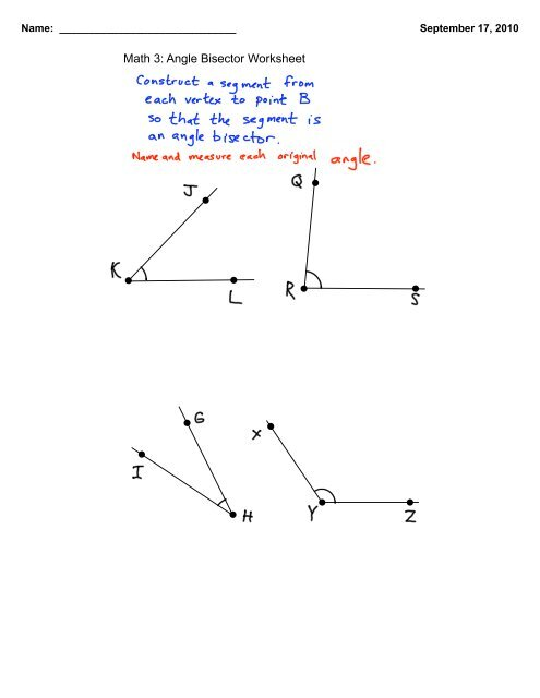 Math 3: Angle Bisector Worksheet - Eudora Schools