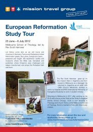 European Reformation Study Tour - Melbourne School of Theology