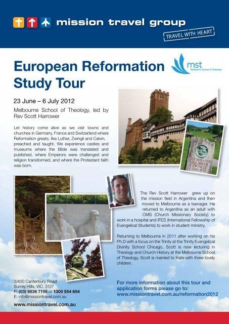 European Reformation Study Tour - Melbourne School of Theology