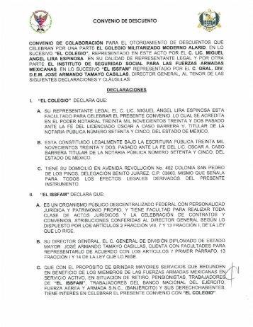 CONVENIO DE DESCUENTO - Issfam