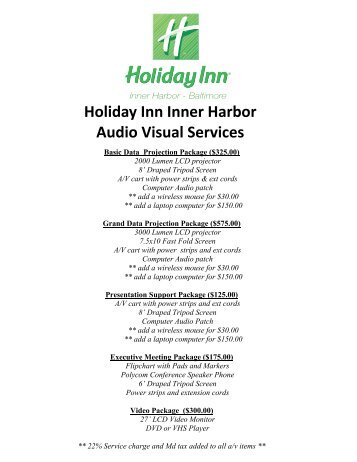 Holiday Inn Inner Harbor Audio Visual Services