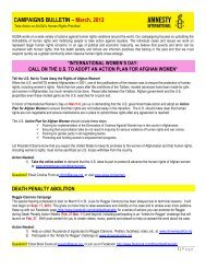 CAMPAIGNS BULLETIN – March, 2012 - Amnesty International USA