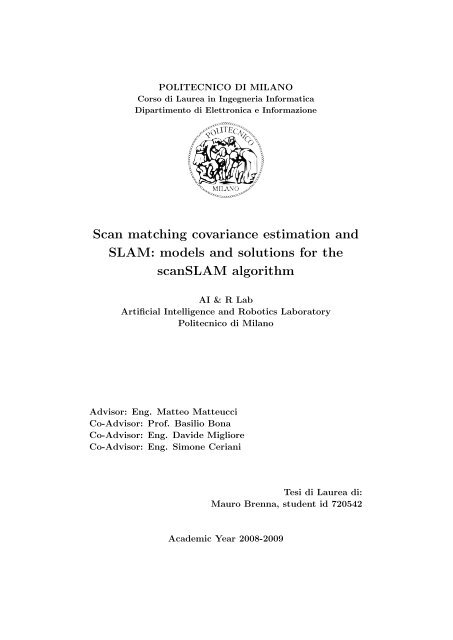 Scan matching covariance estimation and SLAM: models