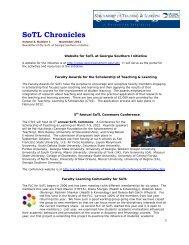 SoTL Chronicles, 3.1_Nov 2011.pdf - Georgia Southern University