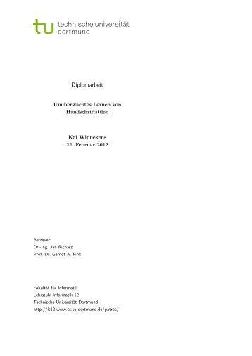 Unüberwachtes Lernen von Handschriftstilen - Gernot A. Fink - TU ...
