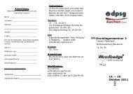 Grundlagenseminar 2 14. – 16. Oktober 2011 - DPSG DV Aachen