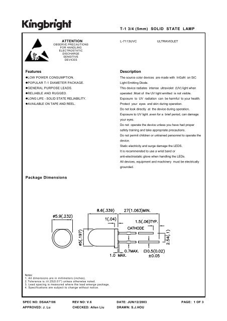 T-1 3/4 (5mm) SOLID STATE LAMP Features Package Dimensions ...