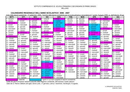 Calendario Regionale Scuola.Calendario Regionale Dell Anno Scolastico 2006 2007