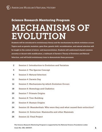 MECHANISMS OF EVOLUTION - American Museum of Natural History