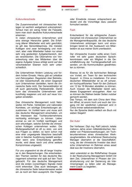 CIHD Magazin 5 08/2008 - Chinesischer Industrie- und ...