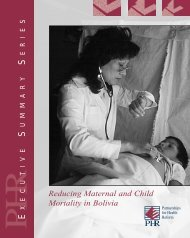 Reducing Maternal and Child Mortality in Bolivia - Health Systems ...
