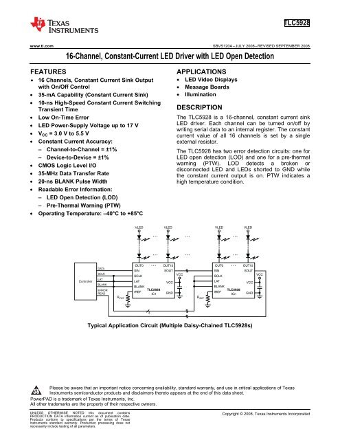 16-Channel, Constant-Current LED Driver with LED Open Detection